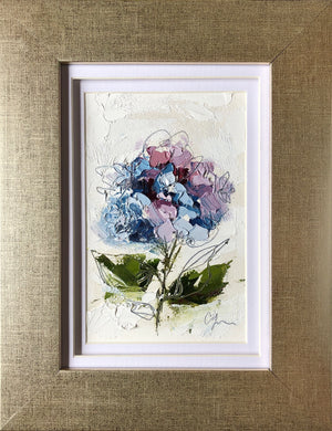 "SOLD - ""Little Hydrangea III"" 6x4 (9x7) Oil/Graphite on Paper"