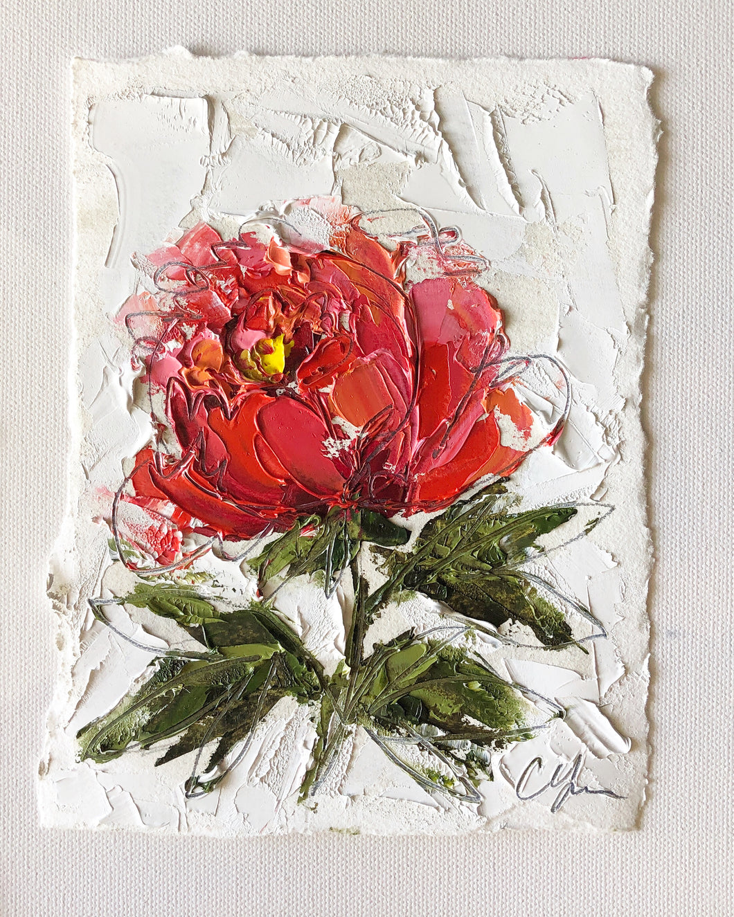 """Little Red Peony II"" - 7x5 Oil on Paper"