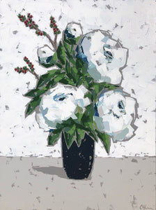 "SOLD - ""Peonies in Black Vase"""