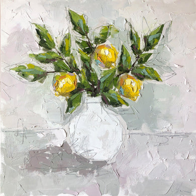 """Lemon III"" 24x24 Oil/Graphite on Canvas"