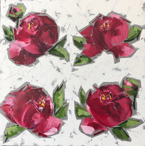 "SOLD - ""Red Peonies"""