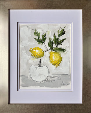 "SOLD - ""Little Lemon Tree IV"" 10x8 (16x13) Oil/Graphite on Paper"
