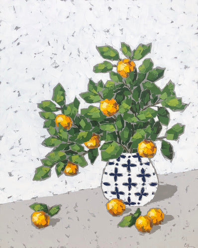 """Oranges in Blue and White Vase"" 