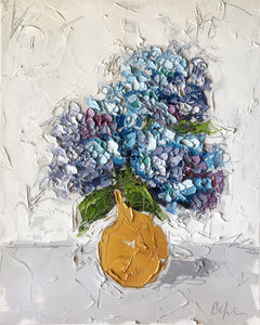 """Hydrangeas in Gold II"" 20x16x1.5"" Oil and Graphite on Canvas"