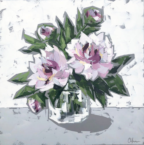 """Peonies in Glass no. 4"" 20x20"