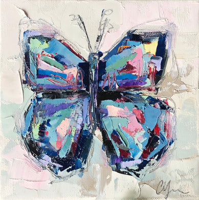 """Butterfly VII"" 8x8 Oil/Graphite on Canvas"
