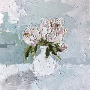 """Peony IV"" 20x20 Oil/Graphite on Canvas"