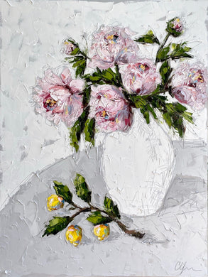 """Peonies and Lemons"" 48x36 Oil on Canvas"