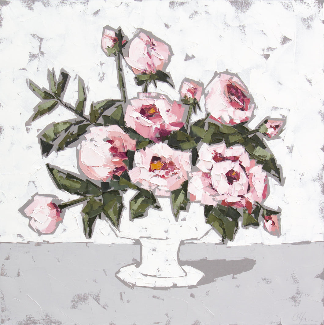 """English Roses in White"" 30x30"