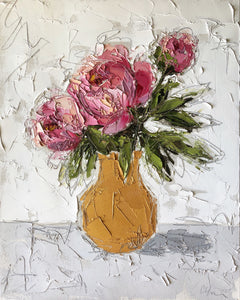 "Pink Peonies in Gold"" 20x16x1.5"" Oil and Graphite on Canvas"