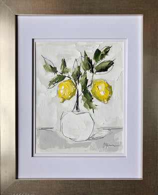 "SOLD - ""Little Lemon Tree III"" 10x8 (16x13) Oil/Graphite on Paper"