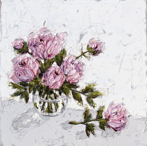 """Pink Peonies in Glass Bowl"" 40x40 Oil on Canvas"