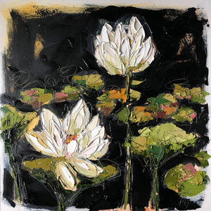 """Lilies and Lotuses I"" 20x20 Oil on Canvas"