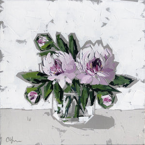 """Peonies in Glass no. 5"" 20x20x1.5"""