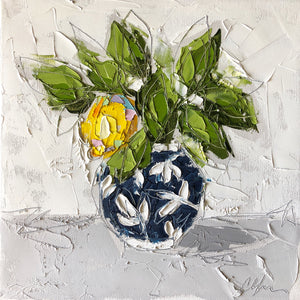 "Lemon in Blue Chinoiserie III"" 12x12 Oil on Canvas"
