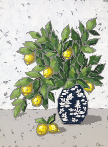 """Lemons in Chinoiserie VI"" 40x30 Acrylic"