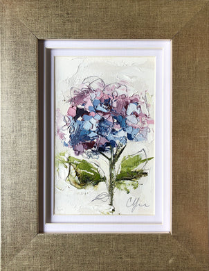 "SOLD - ""Little Hydrangea II"" 6x4 (9x7) Oil/Graphite on Paper"