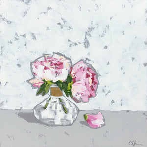 """Peonies in Gold Glass"" 24x24"