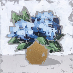 "SOLD - ""Hydrangeas in Gold II"""