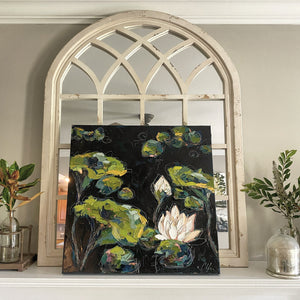 """Lilies and Lotuses V"" Framed 24x24 Oil on Canvas"