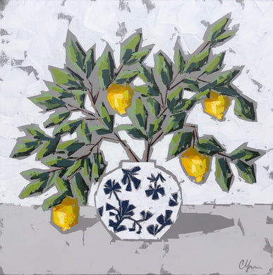 """Lemons in Chinoiserie VII"" 24x24"