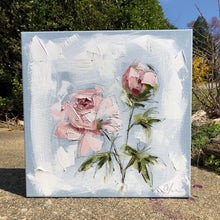 "Load image into Gallery viewer, ""Peonies Vignette I"" 12x12 Oil/Graphite on Canvas"