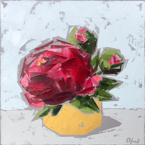"""Red Peonies in Gold no. 2"" 12x12"