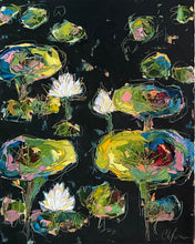 "Load image into Gallery viewer, ""Lilies and Lotuses IX"" 20x16x1.5"" Oil on Canvas"