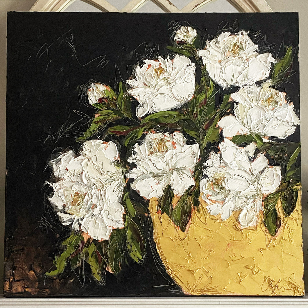 """Peonies in Gold Bowl"" 36x36 Oil on Canvas"