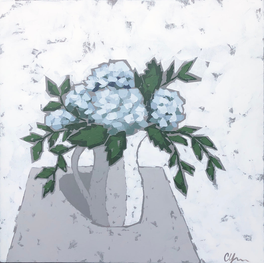 "SOLD - ""Hydrangeas in Pottery"""