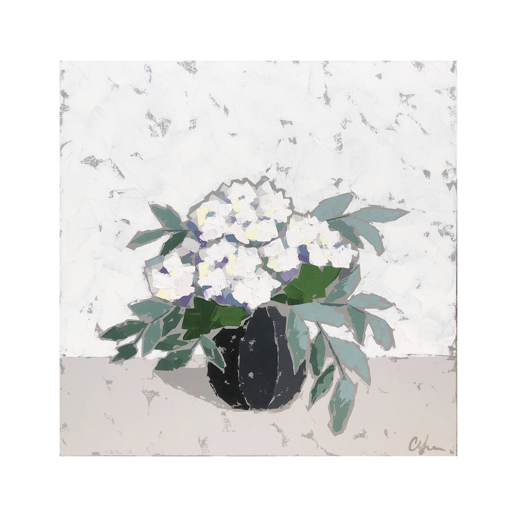 """Hydrangeas in Black Vase III"" 24x24"