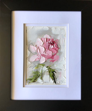 "SOLD - ""Peony Vignette XVI"" 7x5"" Oil/Graphite on Paper"