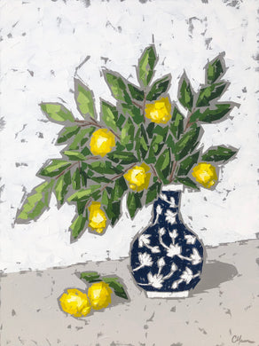 """Lemons in Water Lily Chinoiserie I"" 