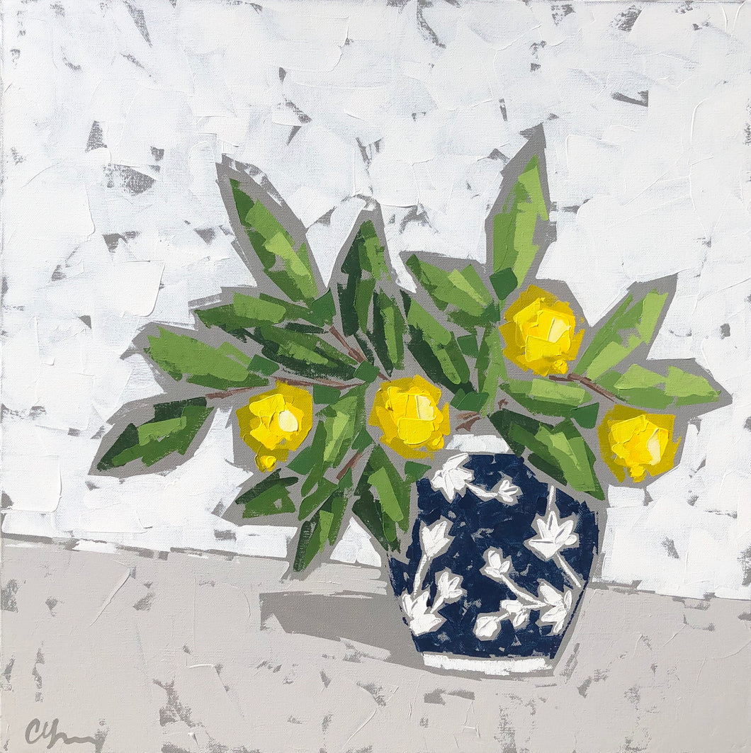 "SOLD - ""Lemons in Water Lily Chinoiserie II"""