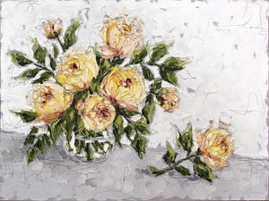 """Yellow Peonies in Glass"" 36x48 Oil on Canvas"