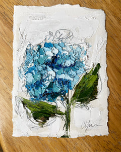 """Little Blue Hydrangea II"" 7x5 Oil on Paper"