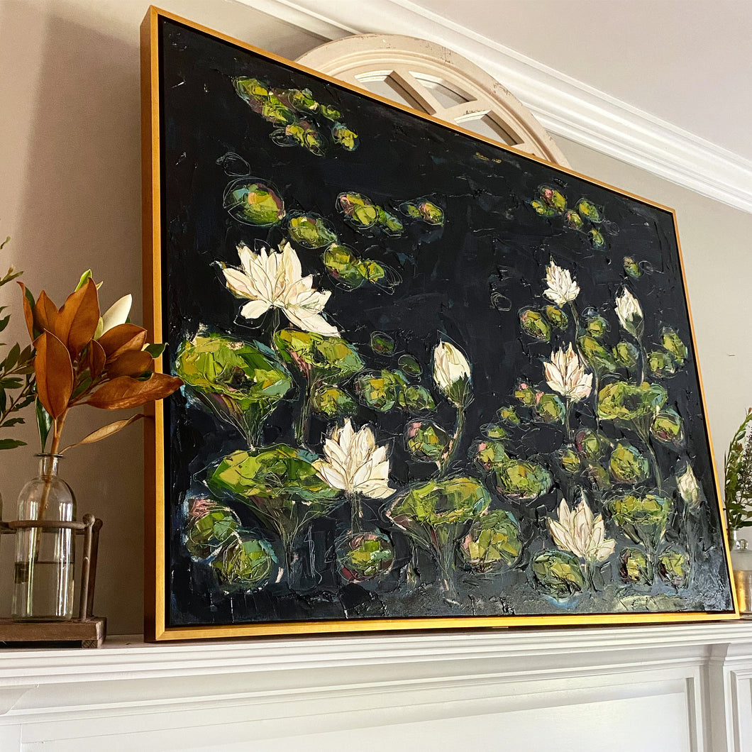 """Lilies and Lotuses III"" 36x48 Oil on Canvas"