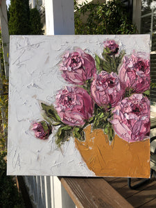 "Muller Commission -""Pink Peonies in Gold Bowl II"" 20x20 Oil on Canvas"