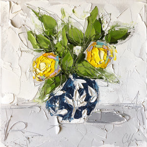 """Lemon in Blue Chinoiserie IV"" 12x12 Oil on Canvas"