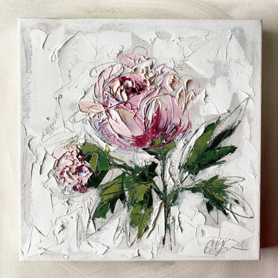 """French Peony II"" 12x12 Oil on Canvas"