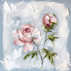 "SOLD - ""Peonies Vignette I"" 12x12 Oil/Graphite on Canvas"