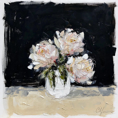 """Peonies in White III"" 24x24x1.5"""