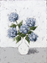 "Load image into Gallery viewer, ""Blue Hydrangeas in White Vase"" 48x36 Oil on Canvas"
