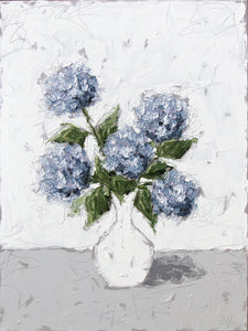 """Blue Hydrangeas in White Vase"" 48x36 Oil on Canvas"