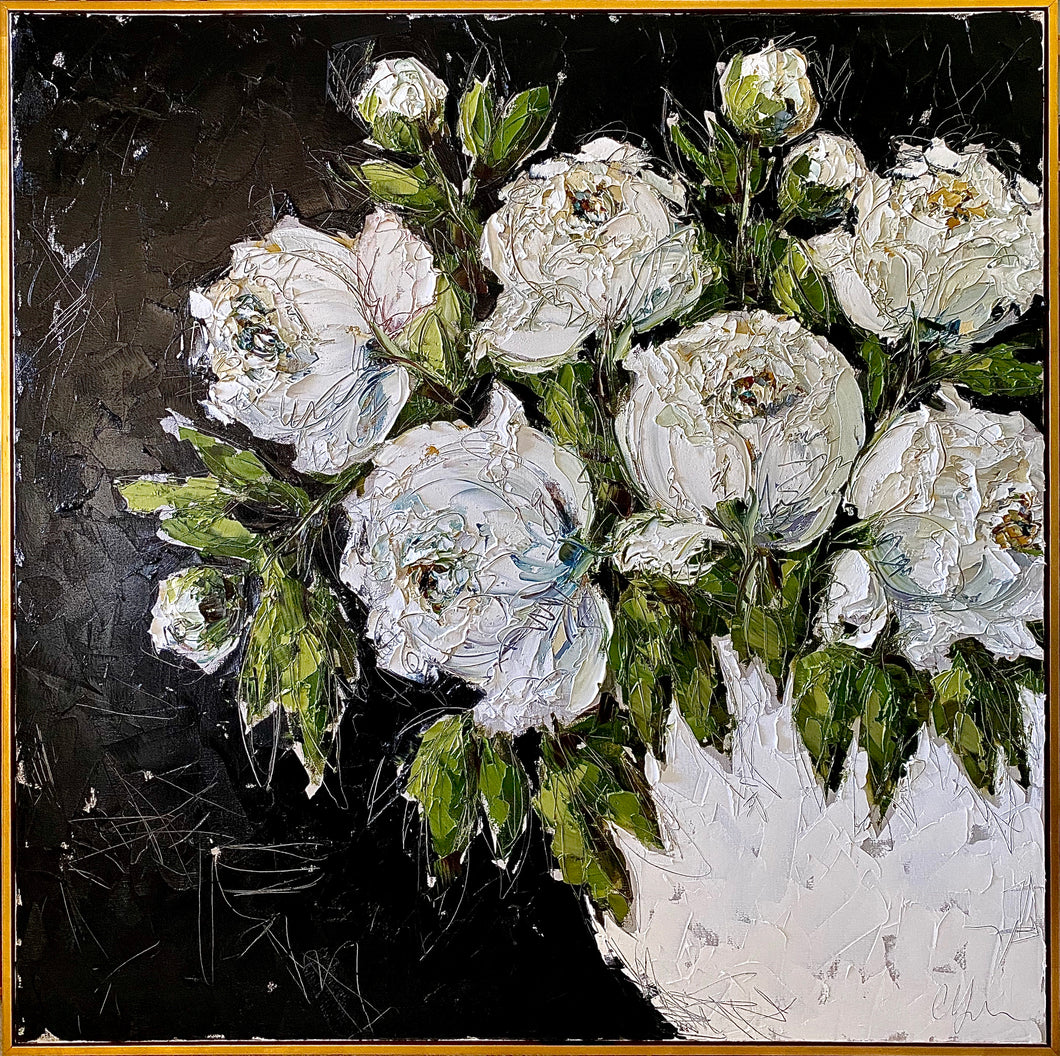 """White Peonies in White Bowl"" Framed 48x48 Oil on Canvas"