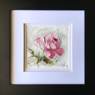 "SOLD - ""Peony Vignette XIV"" 5x5"" Oil/Graphite on Paper"