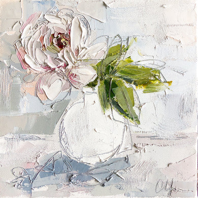 """Peony I"" 8x8 Oil/Graphite on Canvas"