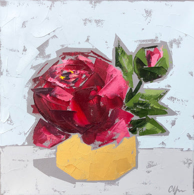 """Red Peonies in Gold no. 1"" 12x12"