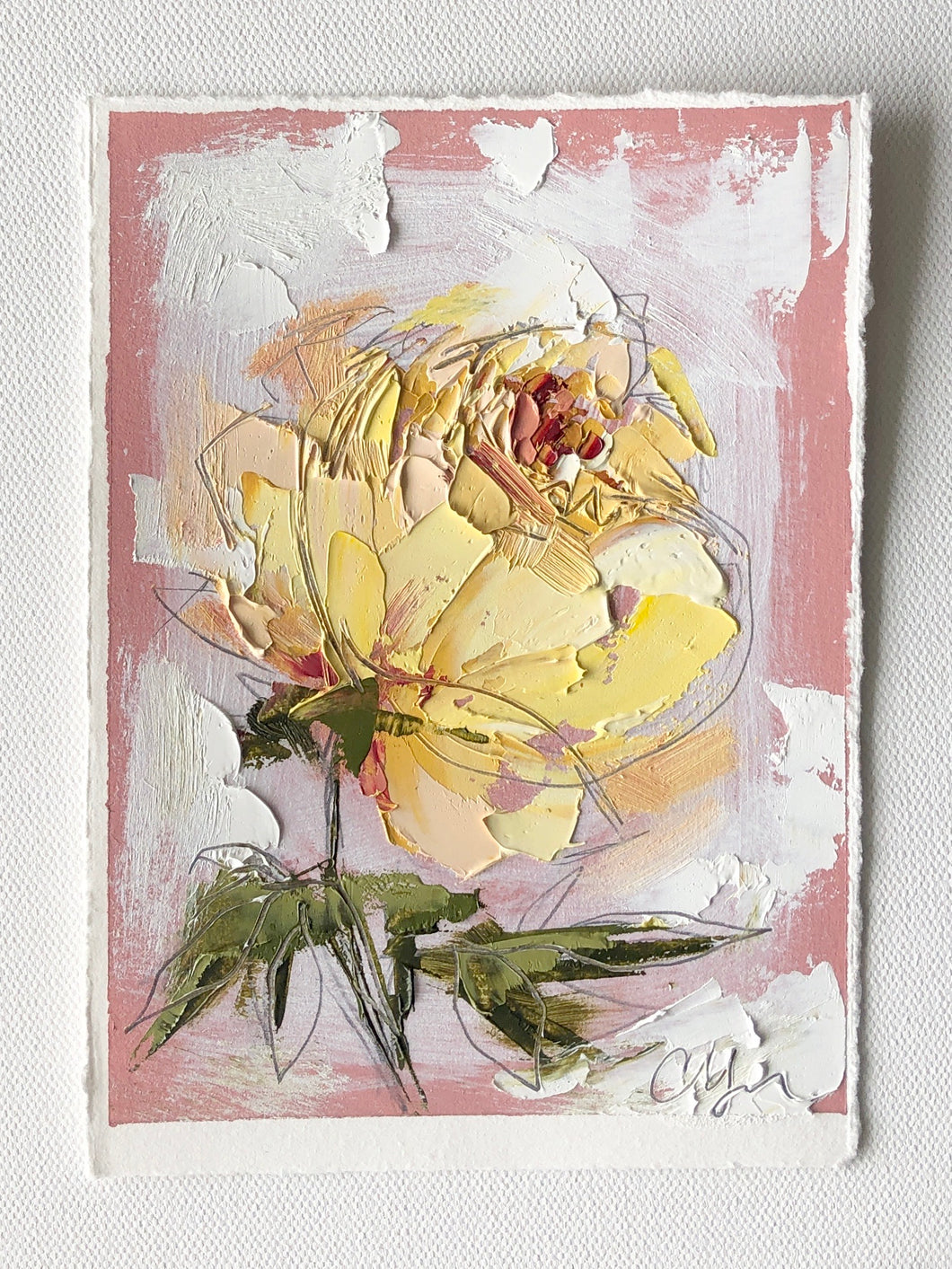 """Yellow on Pink I"" 7x5"" Oil/Graphite on Paper"