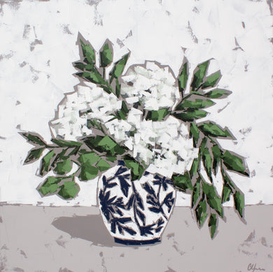 """Hydrangeas in Chinoiserie"" 36x36"